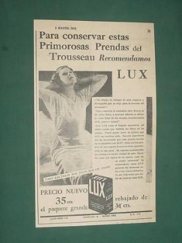 publicidad antigua jabon lux caja grande prendas trousseau