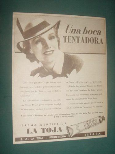 publicidad antigua jabones la toja dentrifico boca tentadora