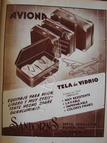 publicidad antigua maletas aviona de sanborns 1951