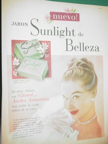 publicidad antigua nuevo jabon sunlight belleza glicerol