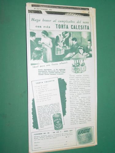 publicidad antigua polvos royal lata receta torta calesita