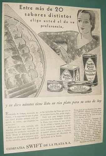 publicidad antigua swift productos enlatados variedad latas