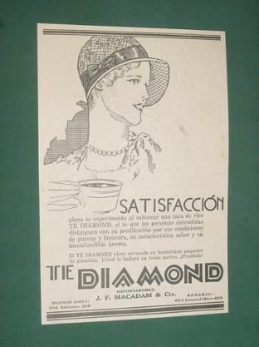 publicidad antigua te diamond satisfaccion saborear taza