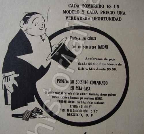 Publicidad Antigua Tienda Sombreros Tardan Hnos. 1920 -   480.00 en ... a56bca3c3e6