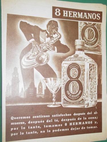 publicidad bebida licor 8 hermanos botella saxo color sepia