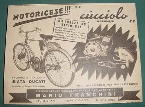 publicidad bicicletas micro motores cucciolo siata ducati