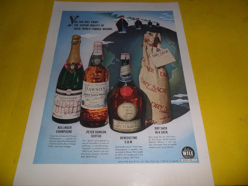 publicidad champagne peter dawson wile whisky bottled ingles