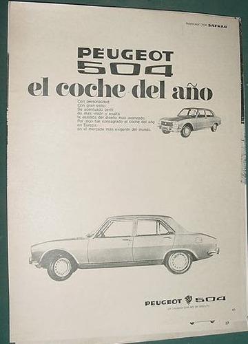 publicidad clipping automoviles peugeot 504 auto del año