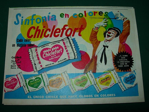 publicidad clipping chicle globo chiclefort payaso sinfonia