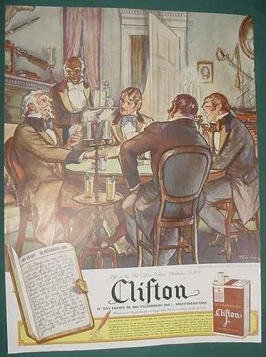 publicidad clipping cigarrillos clifton 17 dibujos de taucke