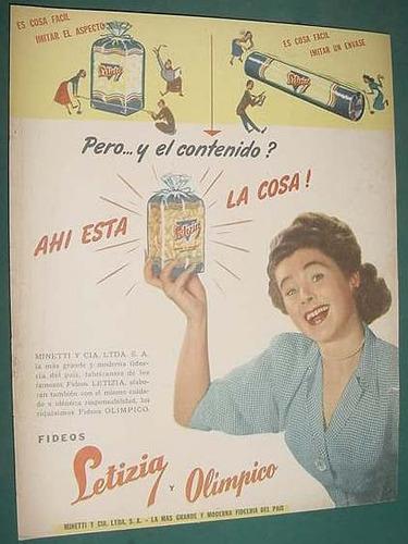 publicidad clipping fideos letizia olimpico minetti bs. as.
