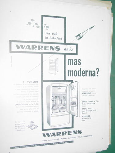 publicidad clipping recorte heladeras warren la mas moderna