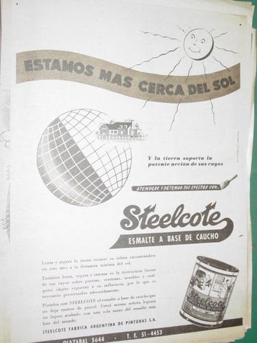 publicidad clipping recorte pinturas esmalte steelcote lata