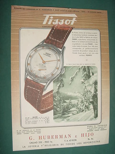 publicidad clipping recorte relojes tissot huberman bs as