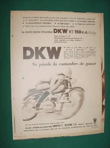 publicidad - dkw moto rt-150cc de lujo para triunfar