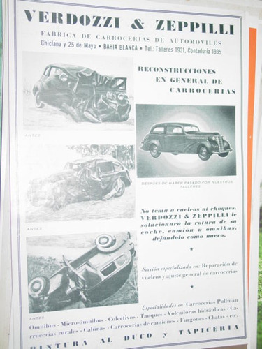 publicidad fabrica de carroceria automoviles bahia blanca