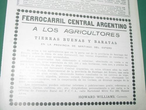 publicidad ferrocarril central argentino cordoba tierras