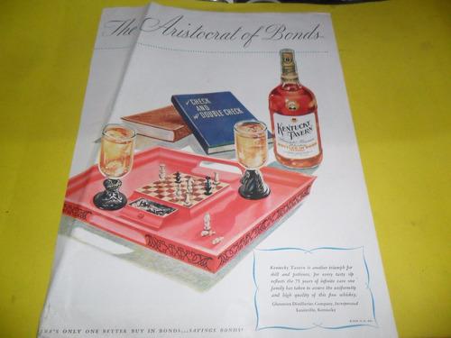 publicidad kentucky tavern bottled ajedez whiskey bebida