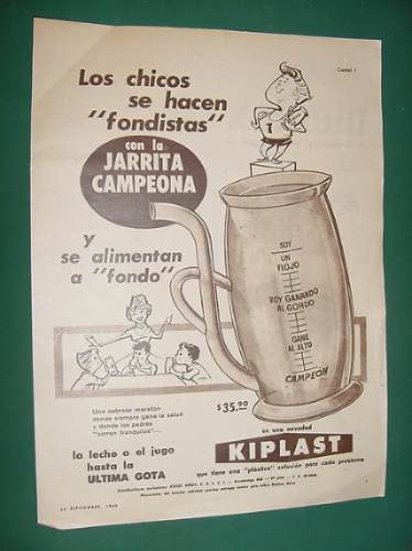 publicidad - kiplast jarrita campeona para leche o jugo