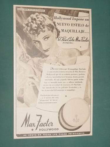 publicidad - max factor hollywood maquillaje pan cake