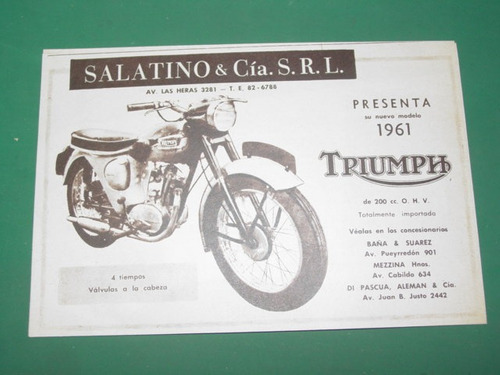 publicidad motocicletas moto triumph modelo 61 salatino cia
