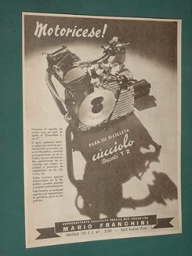 publicidad - motores cucciolo para bicicletas ducati t2