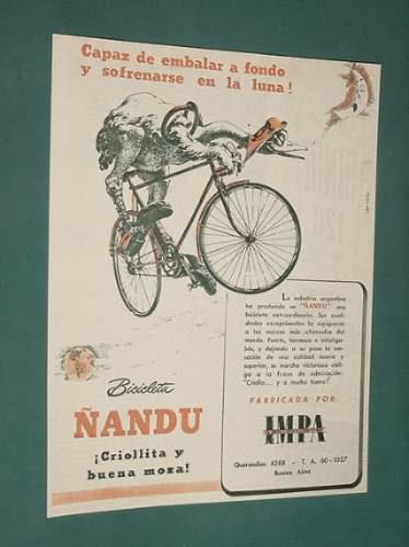 publicidad - ñandu bicicletas criollitas y buena moza