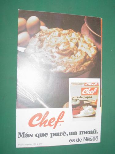 publicidad nestle pure de papas en copos chef caja