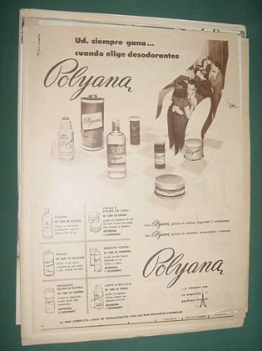 publicidad polyana desodorante locion polvo lapiz a bolilla
