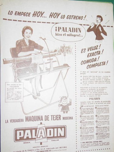 publicidad recorte maquina tejer knitting machine paladin m1