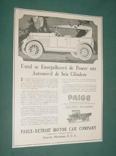 publicidad rural 1920 automoviles paige detroit motor car