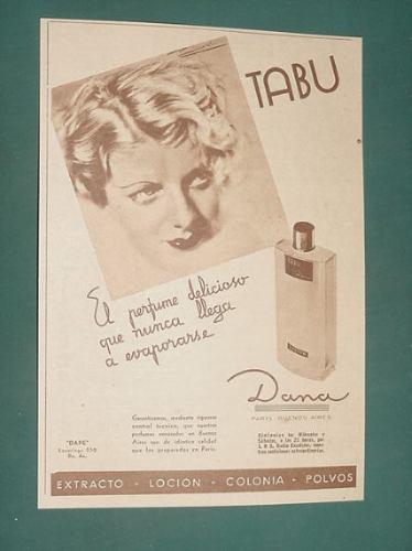 publicidad - tabu dana perfume delicioso no se evapora