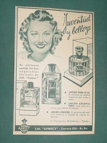 publicidad - york locion nº 25 chenier locion colonia york