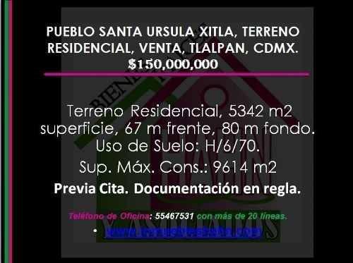 pueblo santa ursula xitla, terreno residencial, venta, tlalpan, cdmx.