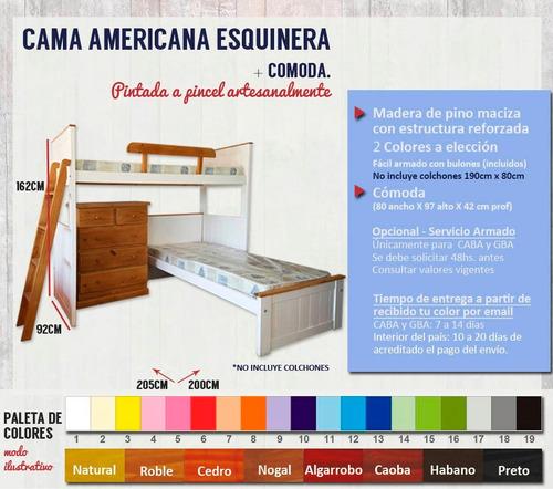 puente + cama + cómoda roble blanco 6 y ahora 12 cuotas