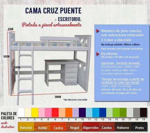 puente cruz con escritorio niños infantil juvenil blanco