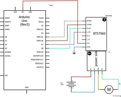 puente h bts7960 hasta 43a control motor arduino pic avr dsp