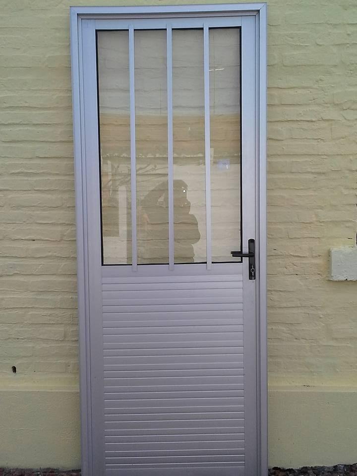 Puerta aluminio anodizado lambriz doble en for Costo puerta aluminio