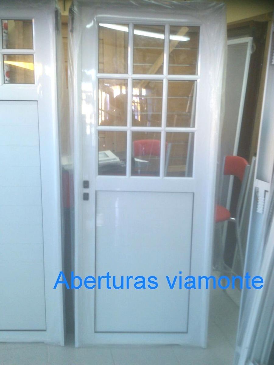 Puerta Aluminio Blanco Vidrio Repartido Aberturas En Mercado