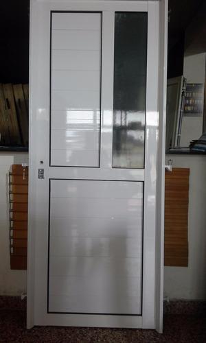 puerta  aluminio blanco exterior reforzada 80 x 200 vid late