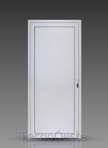 puerta aluminio pesado módena blanco 80x200 ciega picaportes