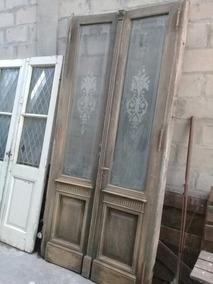 Puerta Antigua Dos Hojas Cedro Vidrios Grabados
