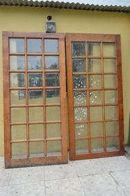 Puerta De Madera Con Vidrio Repartido Interior Doble Aberturas