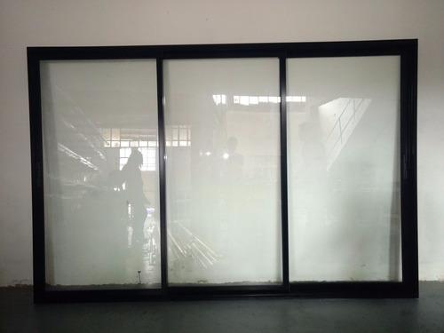puerta balcon negra aluminio modena 300x200 dvh 494, 3 guias