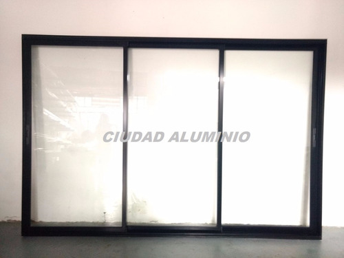 puerta balcon negra aluminio modena 360x200 v.3+3, 3 guias