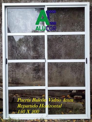 puerta balcón vidrio repartido horizontal 150 x 200 aluminio