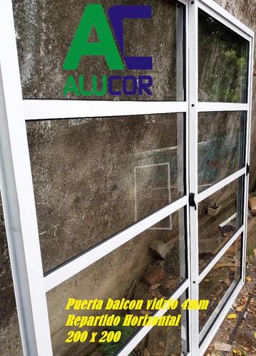 puerta balcón vidrio repartido horizontal 200x200 aluminio