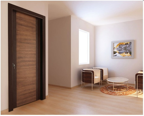 puerta barnizada modelo milano con marco y chapa