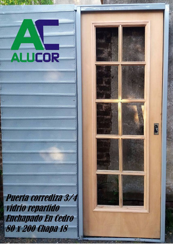 puerta corrediza 3/4 vidrio repartido cedro 80 x 200