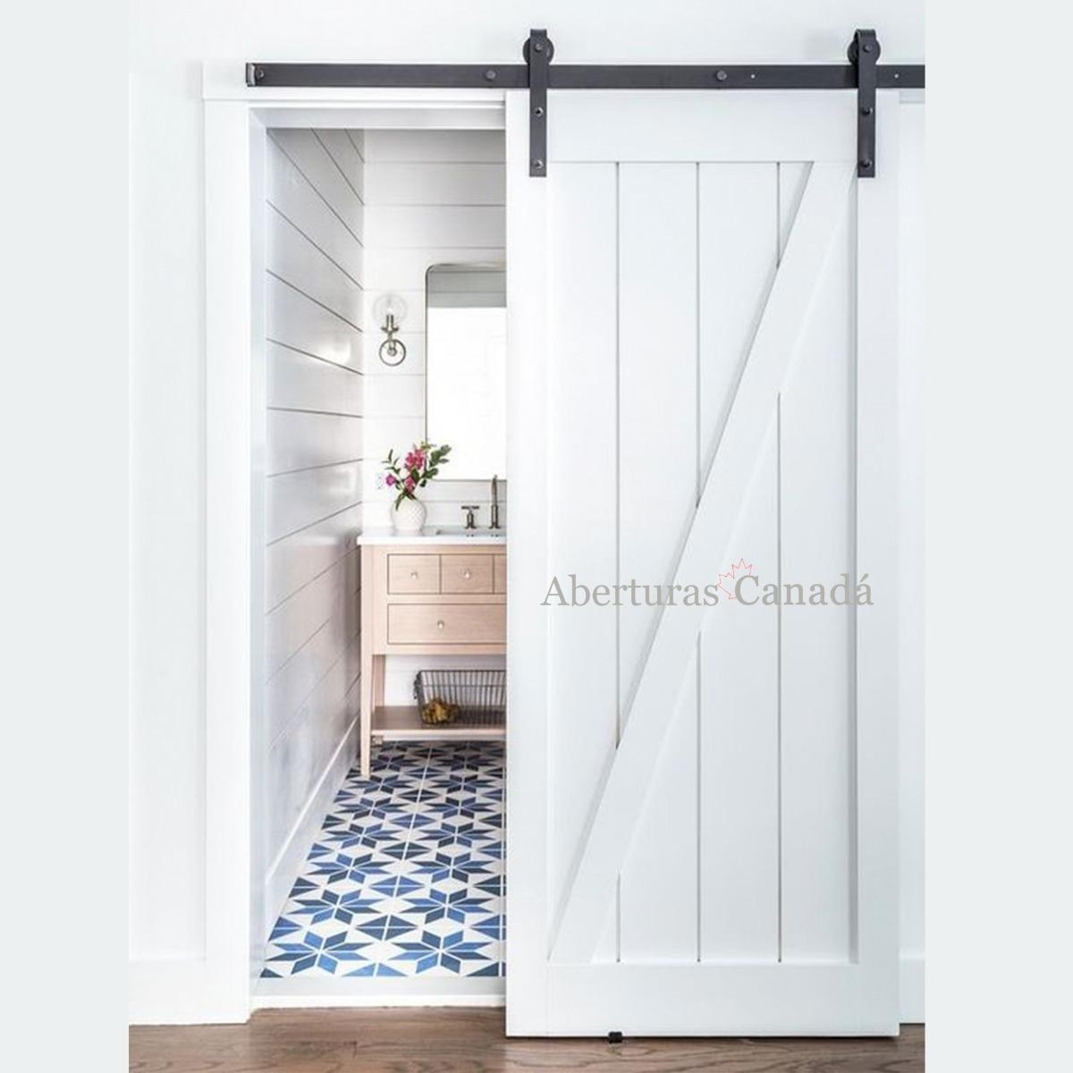 Puerta Corrediza, Madera Maciza Con Guía Granero 70x2.05 - $ 7.680 ...